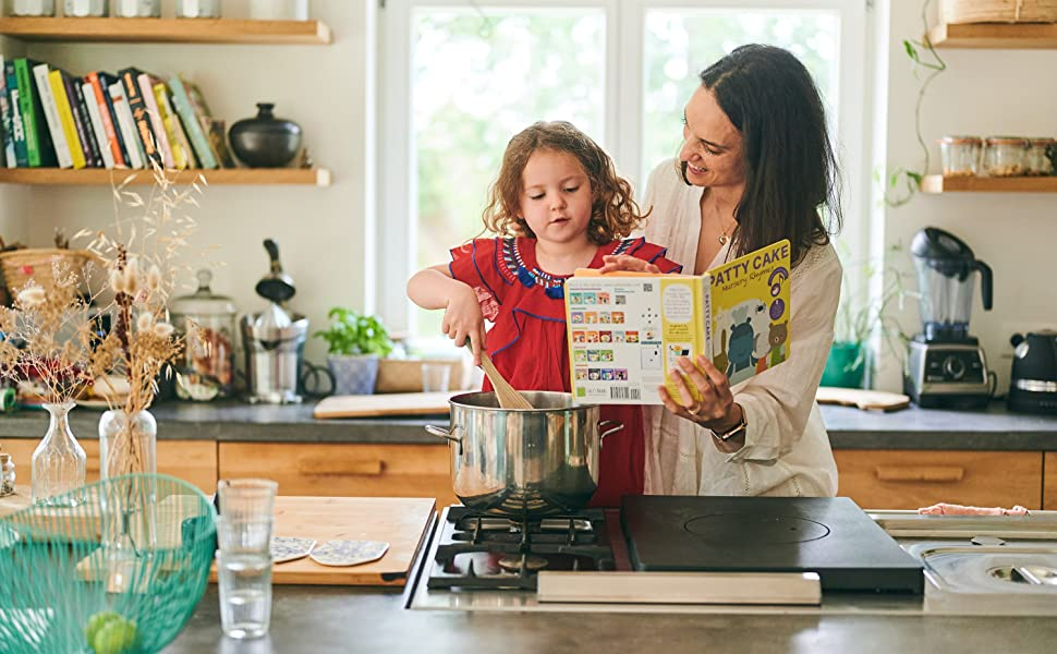 MOM AND LITTLE GIRL COOKING AND ENJOYING PATTY CAKE NURSERY RHYMES SOUND BOOK