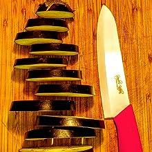 Pink Ceramic Knife, eggplant