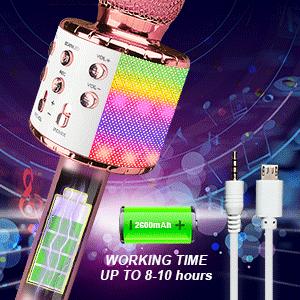 Kids Wireless Bluetooth Karaoke Microphone Player Speaker LED Christmas Birthday Home KTV Outdoor