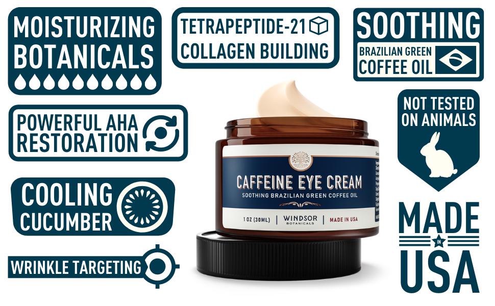 Windsor Botanicals - Caffeine Eye Cream green coffee oil - reduces bags puffiness, redness