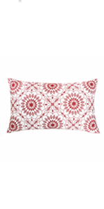 red lumbar pillow covers