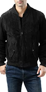 BGSD Men's Classic Suede Leather Bomber Jacket