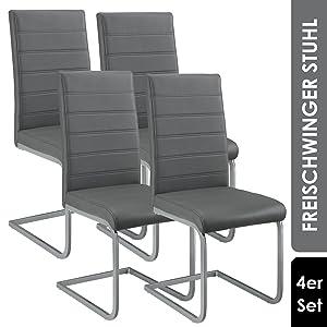 Freischwinger Stühle Vegas 4er Set grau
