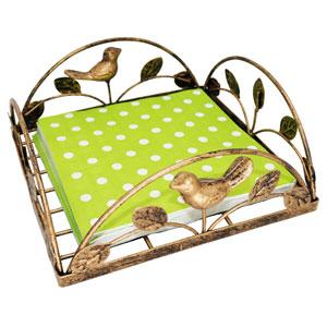 Bronze Cast Iron Bird amp; Tree Tabletop Napkin Holder Caddy