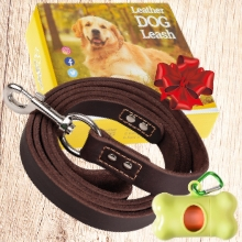 Brown Leather Dog Leash 6ft