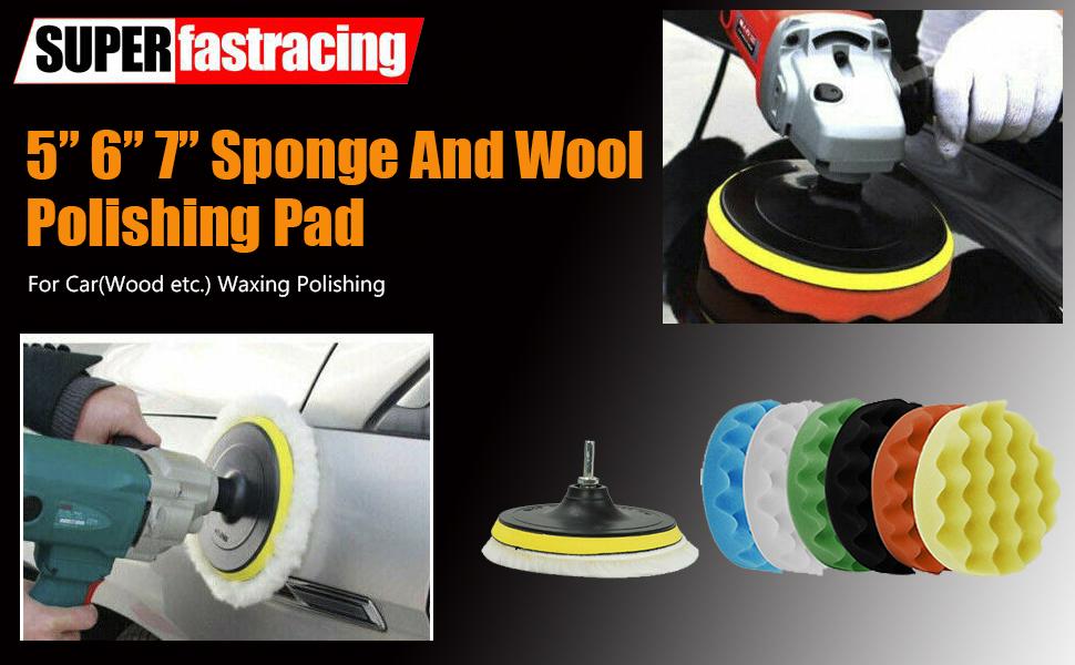 Buffing Pads Waxing Polishing Buffer Drill Sponge Kit for Car Polish Tool (9 Pcs)