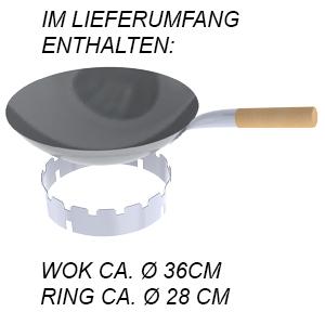 WOK Ø36cm Hockerkocher ChattenGlut HK2000E mit WOK Ring Ø28cm 10KW Erdgas