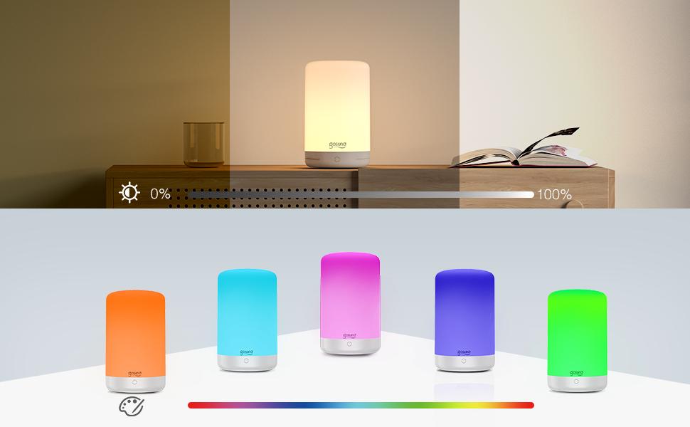 gosund smart rgb color changing table bedside lamp lights