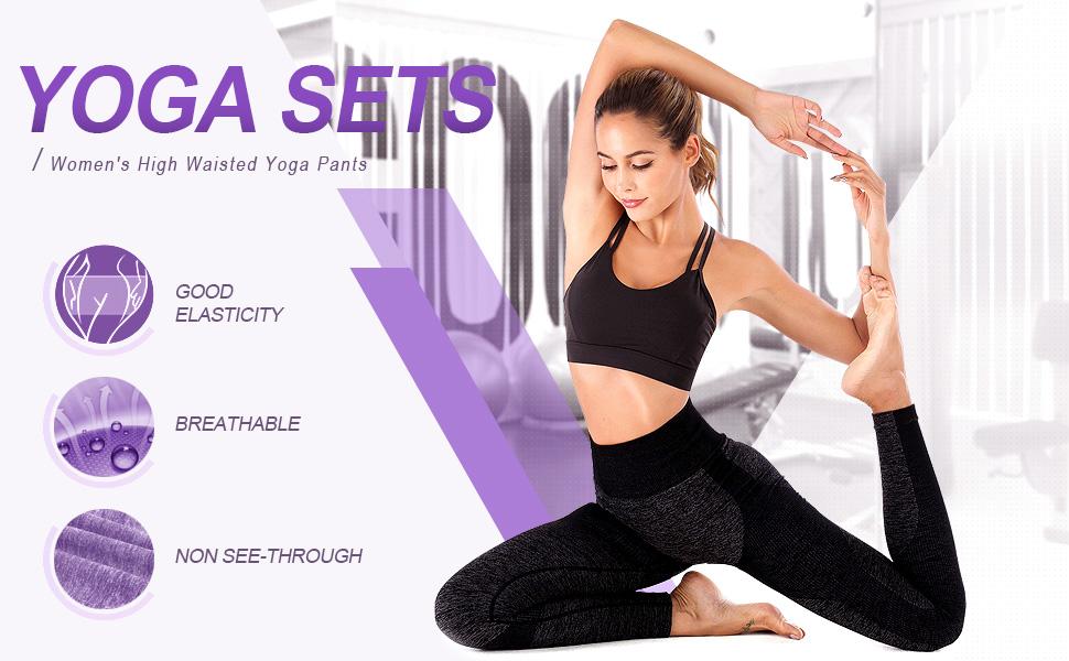 ZHENWEI Women Yoga Pants Fitness High Waisted Tummy Control Yoga Sets High-Elastic Workout Leggings Sports Trousers