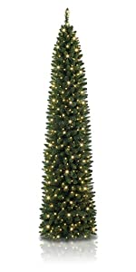 green artificial christmas tree, pencil tree