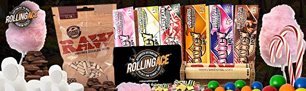 Juicy Jay's Rolling Papers Sweet Flavours Slim Cellulose Filters Joint Roller Rolling Ace Scoop Card