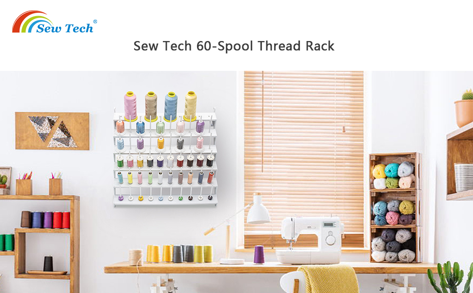 Sew Tech 60-Spool Rack, Large Plastic Wall Mounted Thread Stand, Thread Holder