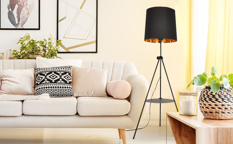 modern tripod floor lamp shelf tall standing light bedroom living room reading metal