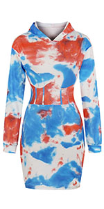 tie dye dress long sleeve bodycon dress tie dye hooded dress tshirt dress mini dress hoodie dress