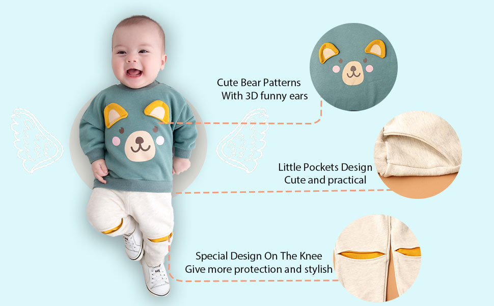 pants outfits/&set kid Clothing 2PCS Toddler Kids Baby boys Little Bear tops