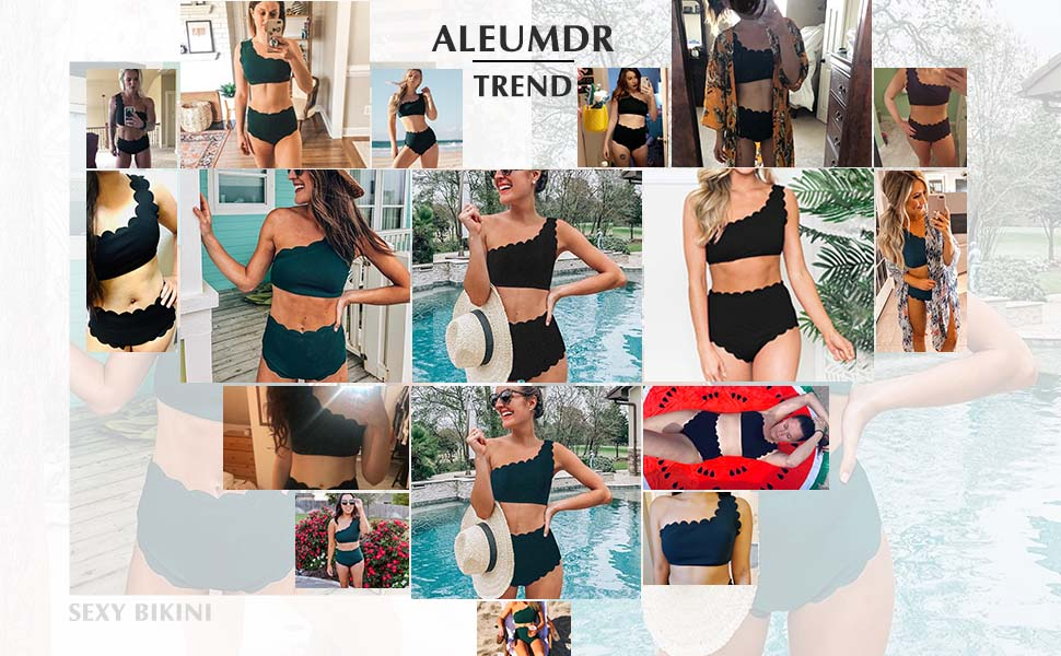 Aleumdr Womens Vintage High Waisted Two Pieces Scalloped Trim One Shoulder Bikini Bathing Suit