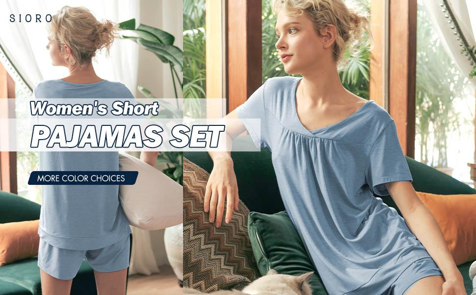 modal cotton womens pajama sets shorts sleeve and pants  v neck