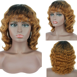 short wave curly human hair wig