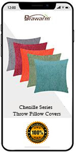 Chenille Striped Throw Pillow Covers