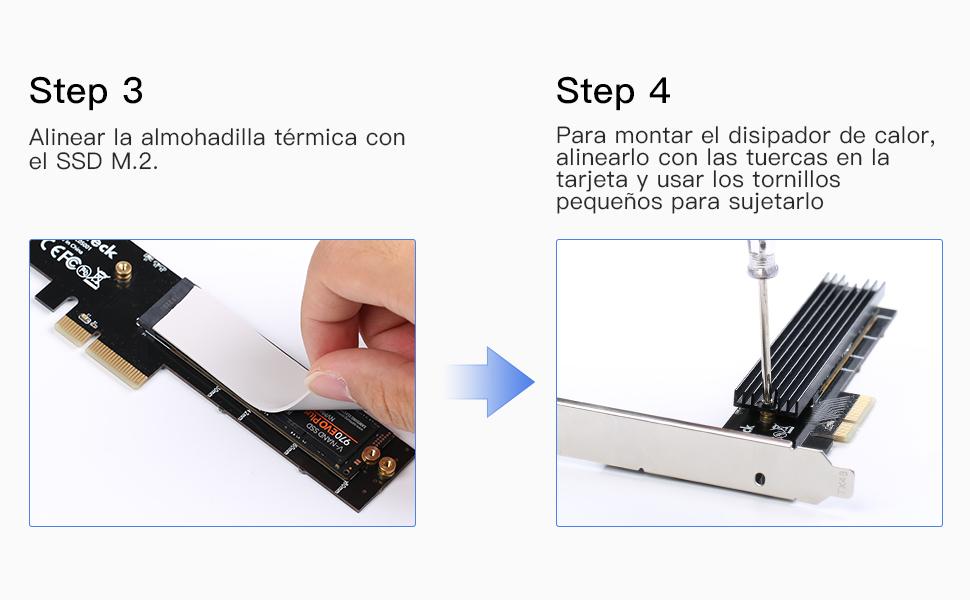 Inateck Adaptador M.2 PCIe, Tarjeta PCIe x4 a M.2 para NVMe SSD ...