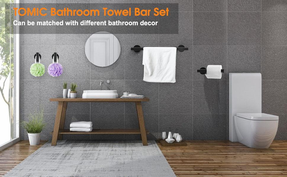 Tomic bathroom Towel Bar Set