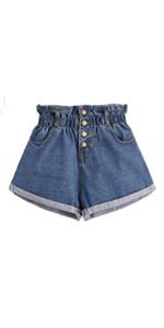 Rolled Hem Button Shorts