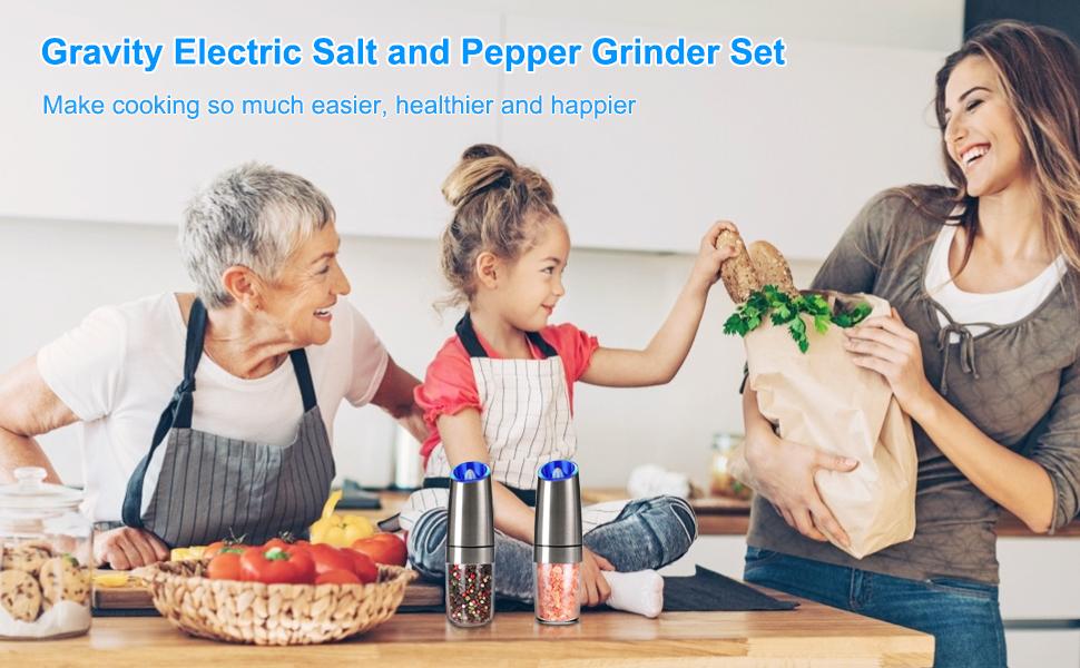 Gravity Electric Salt and Pepper Grinder Set