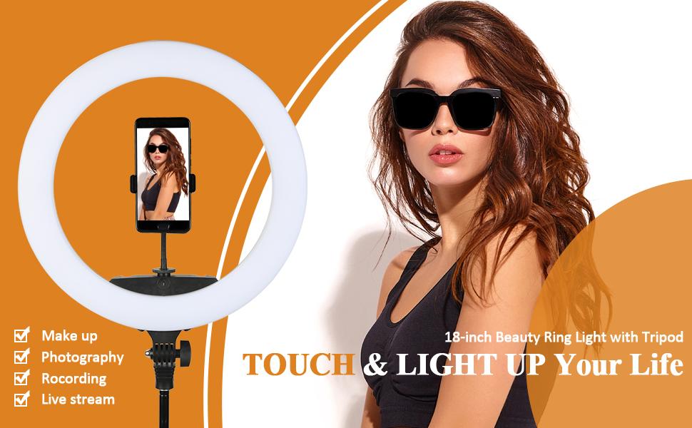 "18"" Ring Light with Stand, Led Light Ring, Selfie Light Ring"