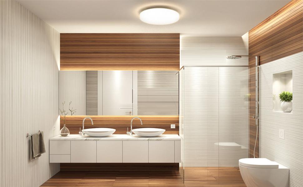 Öuesen Led Deckenleuchte Bad 18W Wasserfest Lampe Badezimmer Decke Led  Deckenlampe für Flur Bad Terrasse Badezimmer Küche Wohnzimmer Schlafzimmer  ...