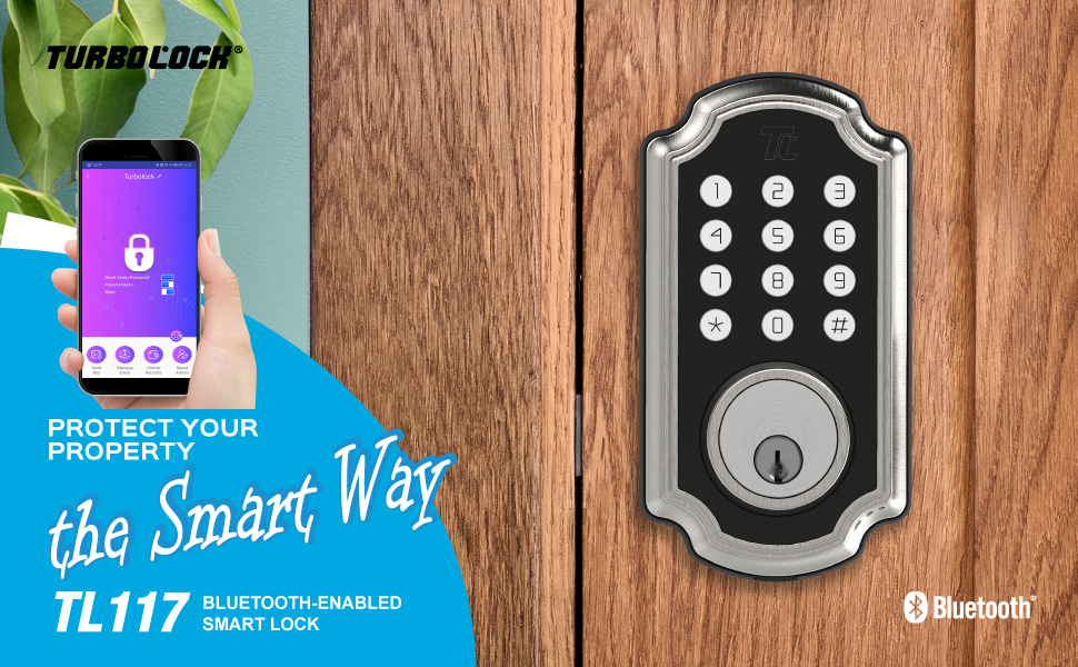 TURBOLOCK TL117 App-Enabled Smart Lock — Flexible Security Solutions for Home or Office