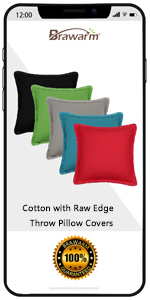 Cotton Raw Edge Throw Pillow Covers