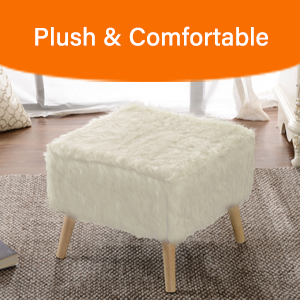 plush fur stool