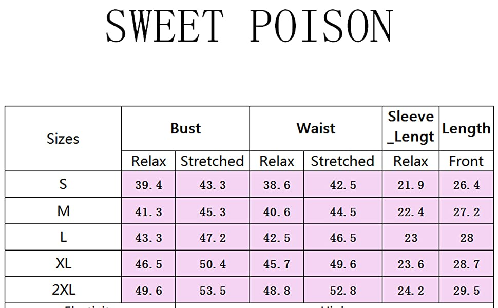 SWEET POISON Size Chart(INCH)