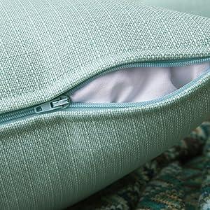 waterproof pillow cases covers square garden cushion PU coating shel 2 packs sky light blue aqua two