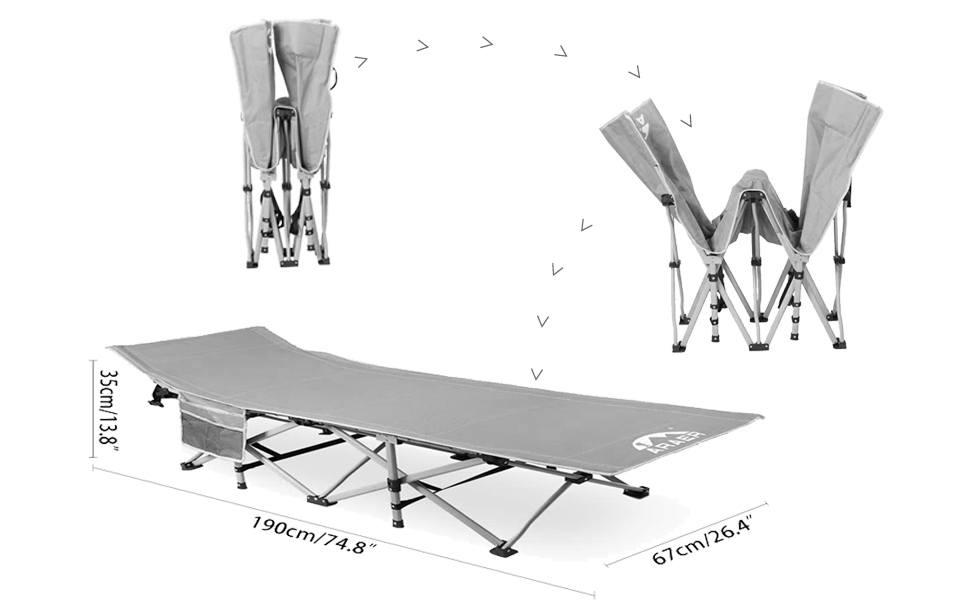 Foldable camping bed for adult
