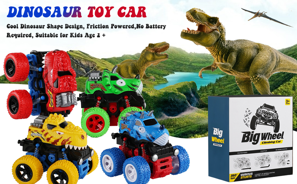 4 Pack Dinosaur Toy Cars for Age 2+