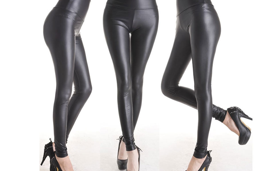 Damen glänzend Kunstleder Fleece Leggings Hohe Taille Hose Lack-Optik elastisch
