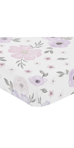 Lavender Purple, Pink, Grey and White Baby or Toddler Fitted Crib Sheet for Watercolor Floral