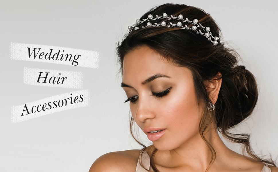 SWEETV Pearl Wedding Headband Silver