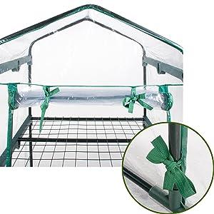 Verdelook, serra, 3 ripiani, telo, pvc, cerniera, porta, arrotolabile, nastri, fissaggio