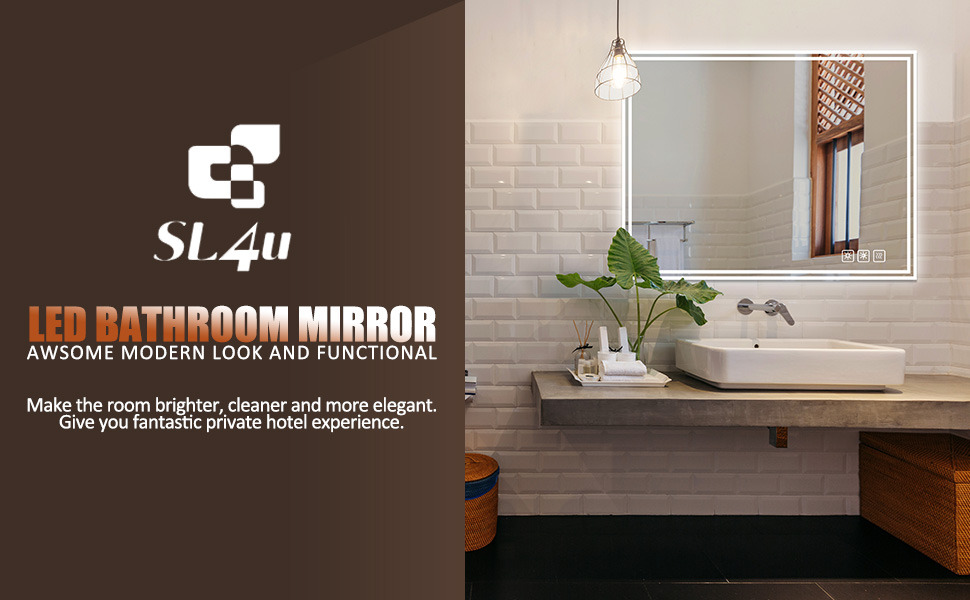 SL4U LED Lighted Bathroom Mirror Dimmable Wall Mounted Vanity Mirror with Light