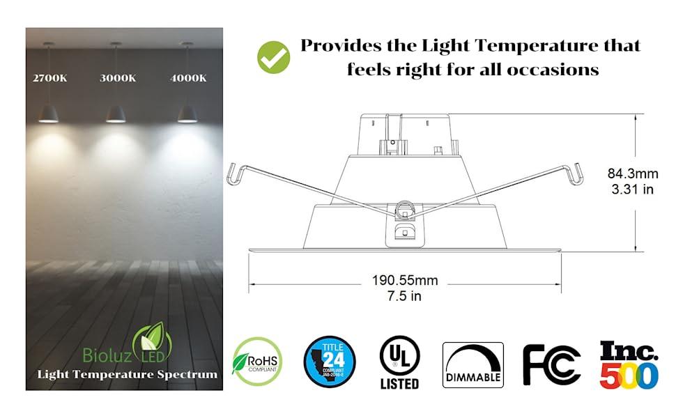 Down light LED Demensions