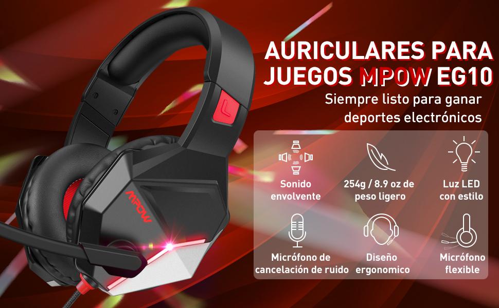Mpow EG10 Auriculares para Juegos con Sonido Envolvente 3D ...