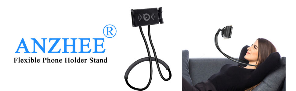 Phone Holder Bed Gooseneck Mount - Flexible Arm 360 Mount Clip Bracket Clamp Stand for Cell Phone