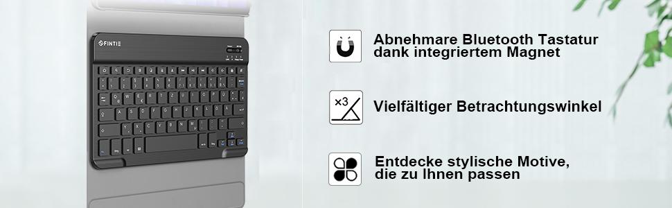 Deutscher QWERTZ Bluetooth Tastatur für Samsung Galaxy Tab A7 10.4'' 2020 (SM-T500/T505/T507)