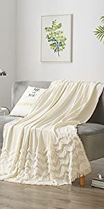 Cotton throw blanket for bed sofa