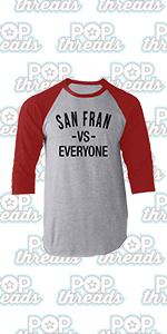 Pop Threads California State Flag Republic Los Angeles Bear Raglan Baseball Tee Shirt