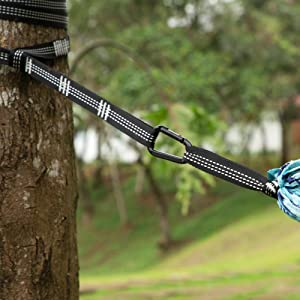 Durable Tree Straps, and Carabiners.