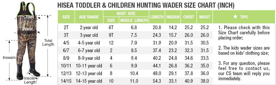 hisea kids camo chest hunting waders