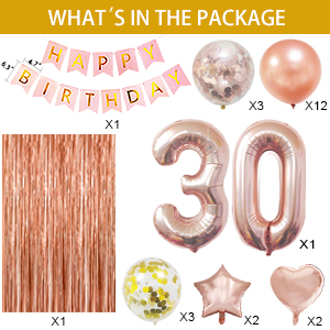 30th rose gold birthday ballons party decoration for her
